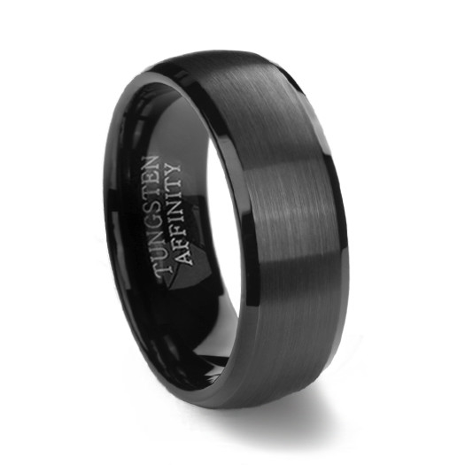Black Brushed Domed Mens Tungsten Wedding Ring