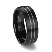 Black Brushed Tungsten Ring with 2 Polished Channels