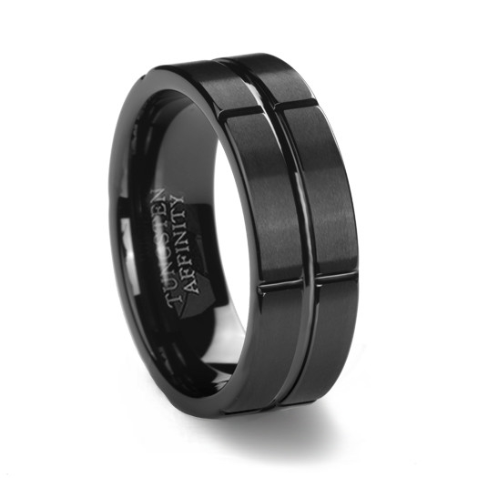 Brushed Black Tungsten Ring Amp Intersecting Grooves