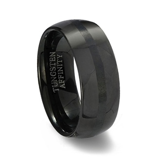 Black Polished Finish Tungsten Carbide Wedding Band & Brushed Black Center