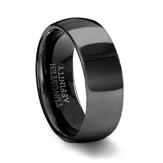 Polished Black Tungsten Wedding Band  Mens Black Wedding Ring