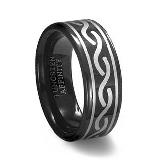 Black Tungsten Carbide Laser Engraved Celtic Ring :  black tungsten ring celtic tungsten ring