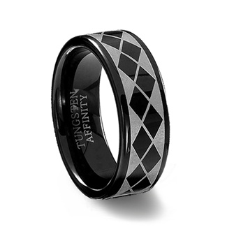 Black Tungsten Carbide Laser Engraved Argyle Ring :  black tungsten ring celtic tungsten ring
