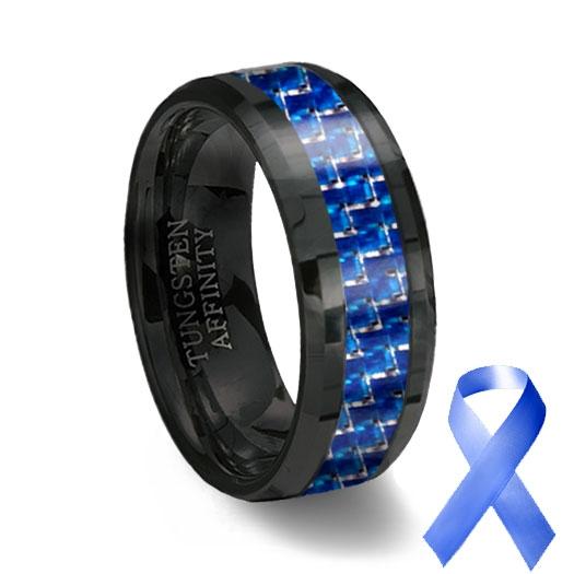 Blue carbon fiber inlay black ceramic wedding ring