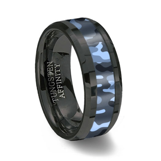 Black Ceramic & Blue Camouflage Ring
