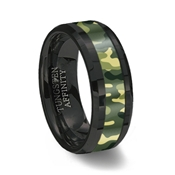 Green Camouflage Inlay Black Ceramic Wedding Ring