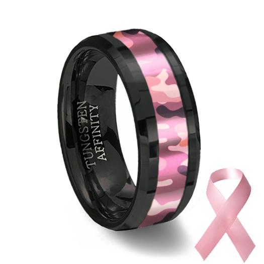 pink camouflage inlay black ceramic wedding ring