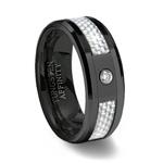 Black Ceramic Ring White Carbon Fiber & CZ