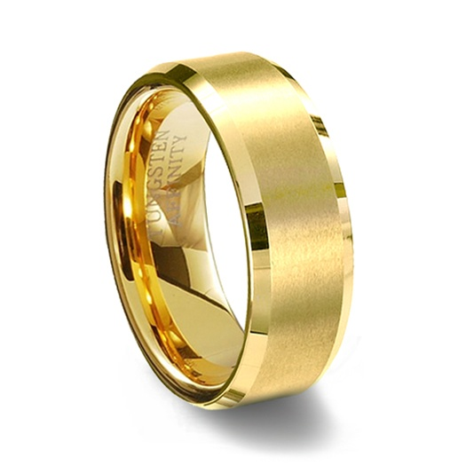 Gold Brushed Finish Tungsten Carbide Wedding Ring Amp Polished Beveled Edge
