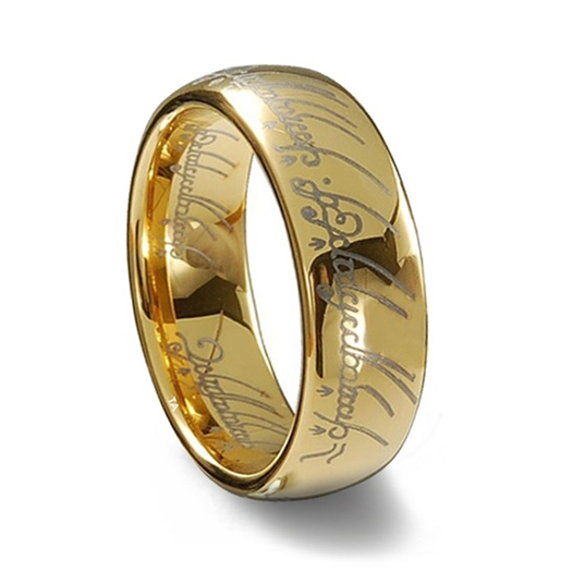 One Right To Rule Them All One Ring To Find Them One: Gold Tungsten Carbide Laser Engraved Elvish LOTR Ring