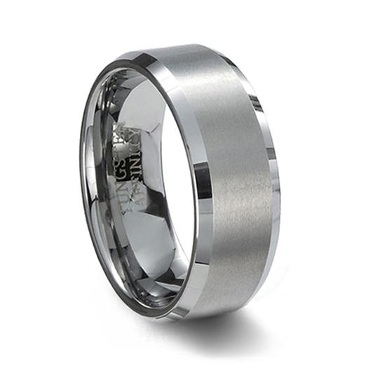 Brushed Finish Tungsten Carbide Wedding Band Amp Polished Beveled Edge