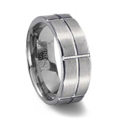 Brushed Tungsten Ring & Intersecting Grooves
