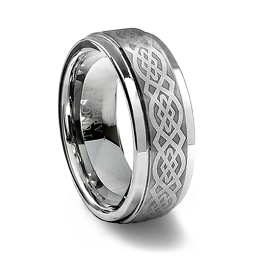 Tungsten Carbide Laser Engraved Celtic Ring :  celtic tungsten ring