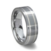 Polished Tungsten Carbide Wedding Band & 2 Silver Inlays