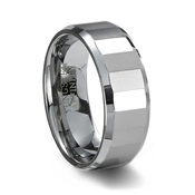 Polished Faceted Tungsten Carbide Ring