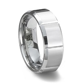 Slotted Polished Mens Tungsten Carbide Ring with Beveled Edges