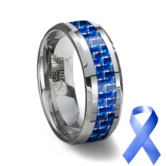 Tungsten Carbide Ring Amp Blue Carbon Fiber Inlay Blue
