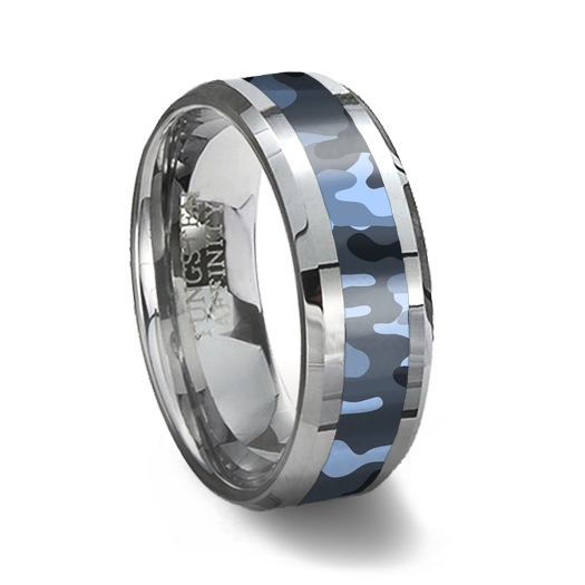 Tungsten Camo Wedding Rings Blue Camouflage Tungsten Wedding Ring