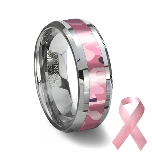Pink And Black Tungsten Ring: Pink Camouflage Tungsten Wedding Ring