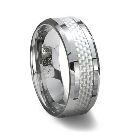 Tungsten Carbide Ring Amp White Carbon Fiber Inlay