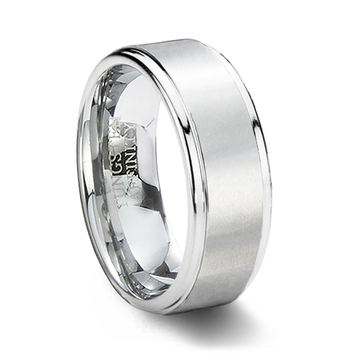 white tungsten carbide ring brushed with step edge